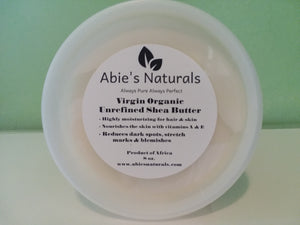 - Unrefined Virgin Organic Ivory Shea Butter is ivory to light yellowish in color and has a natural odor that could be described as somewhat smoky or nutty. The unrefined shea butter also has the highest concentration of antioxidants. It offers some natur