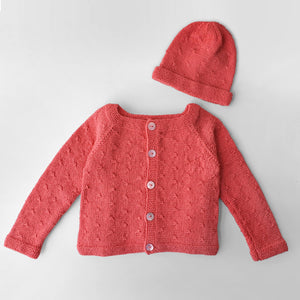 Set Cardigan and Hat Clara - Coral [LIMITED EDITION] - claralondon-shop -  - Clara London