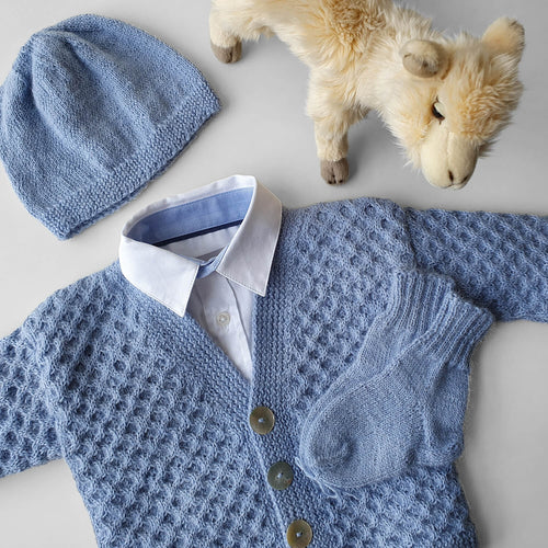 Set Cardigan, Hat and Socks Dorian - Light blue - claralondon-shop -  - Clara London