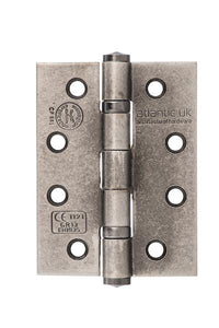 "Atlantic Ball Bearing Hinges Grade 13 Fire Rated 4"" x 3"" x 3mm - Distressed Silver"