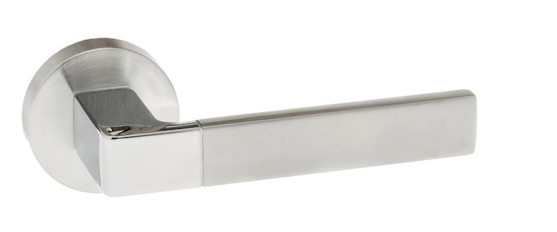 Forme Asti Designer Lever on Minimal Round Rose - Satin Chrome/Polished Chrome