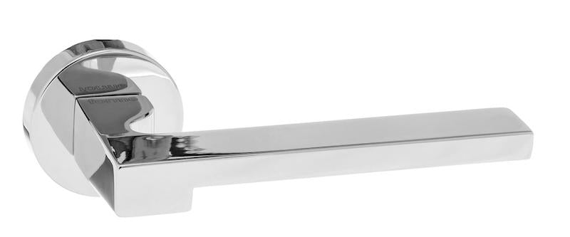 Forme Ginevra Designer Lever on Minimal Round Rose - Polished Chrome