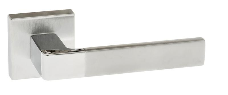 Forme Asti Designer Lever on Minimal Square Rose - Satin Chrome/Polished Chrome