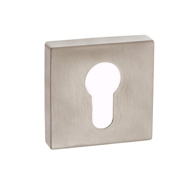 Forme Euro Escutcheon on Minimal Square Rose - Satin Nickel