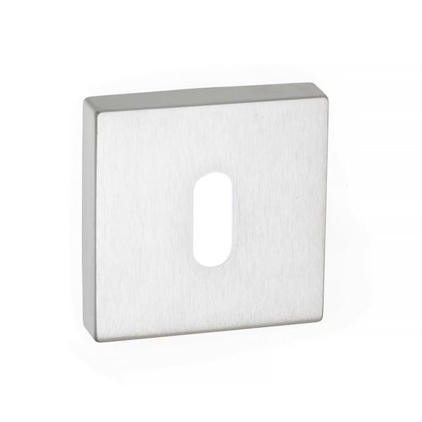 Forme Key Escutcheon on Minimal Square Rose - Satin Chrome