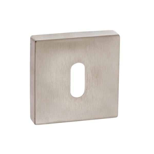 Forme Key Escutcheon on Minimal Square Rose - Satin Nickel