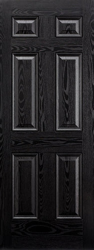 Colonial 6P Pre-Finished Black Front Face With White Inside Face and Edges Doors 813 x 2032