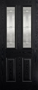 Malton 2L Glazed External Pre-Finished Black Front Face With White Inside Face and Edges Doors 813 x 2032