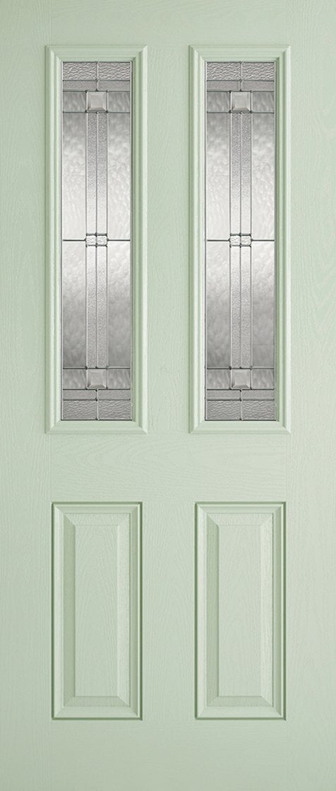 Malton 2L Glazed External Pre-Finished Light Green Front Face With White Inside Face and Edges Doors 813 x 2032
