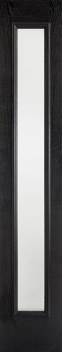 Sidelight 1L Frosted Pre-Finished Black Front Face With White Inside Face and Edges Doors 356 x 2032