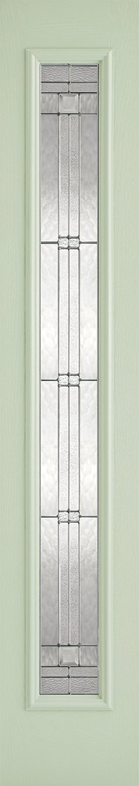 Sidelight 1L Elegant Pre-Finished Light Green Front Face With White Inside Face and Edges Doors 356 x 2032