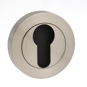 Mediterranean Euro Escutcheon on Round Rose - Satin Nickel