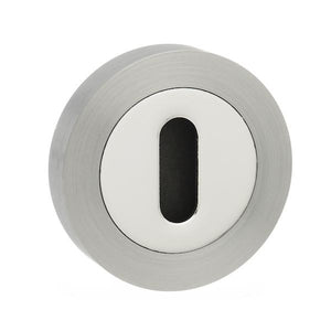 Mediterranean Key Escutcheon on Round Rose - Satin Nickel/Polished Chrome