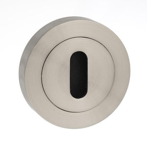 Mediterranean Key Escutcheon on Round Rose - Satin Nickel