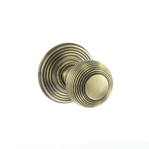 Old English Ripon Solid Brass Reeded Mortice Knob on Concealed Fix Rose - Antique Brass