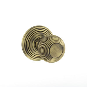 Old English Ripon Solid Brass Reeded Mortice Knob on Concealed Fix Rose - Matt Antique Brass