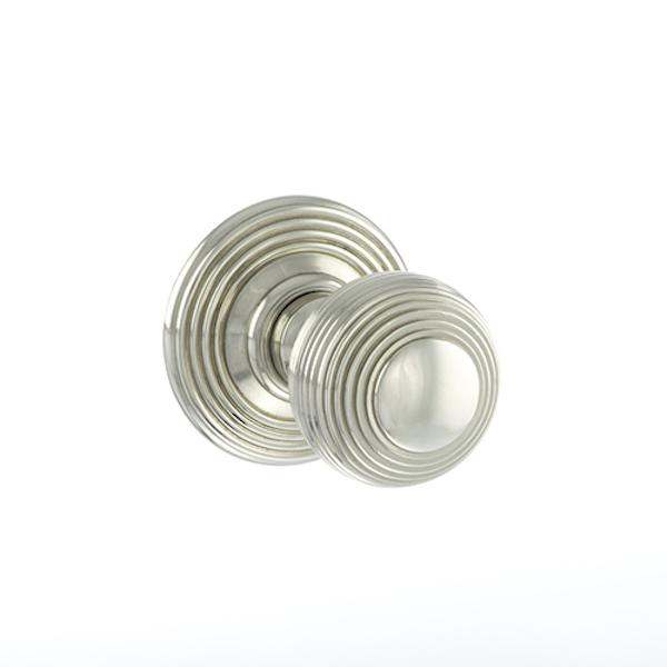 Old English Ripon Solid Brass Reeded Mortice Knob on Concealed Fix Rose - Polished Nickel