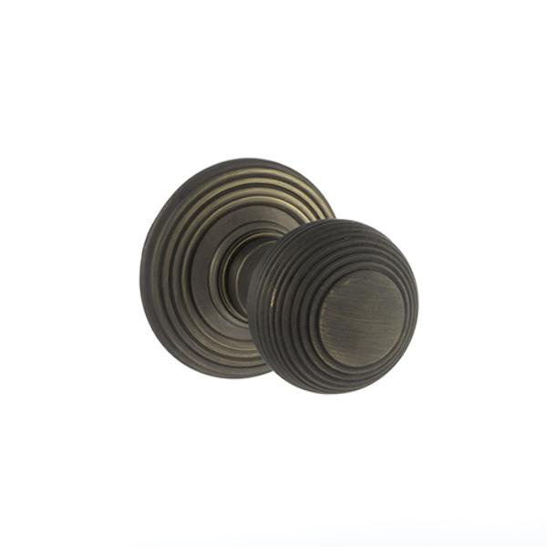 Old English Ripon Solid Brass Reeded Mortice Knob on Concealed Fix Rose - Urban Bronze