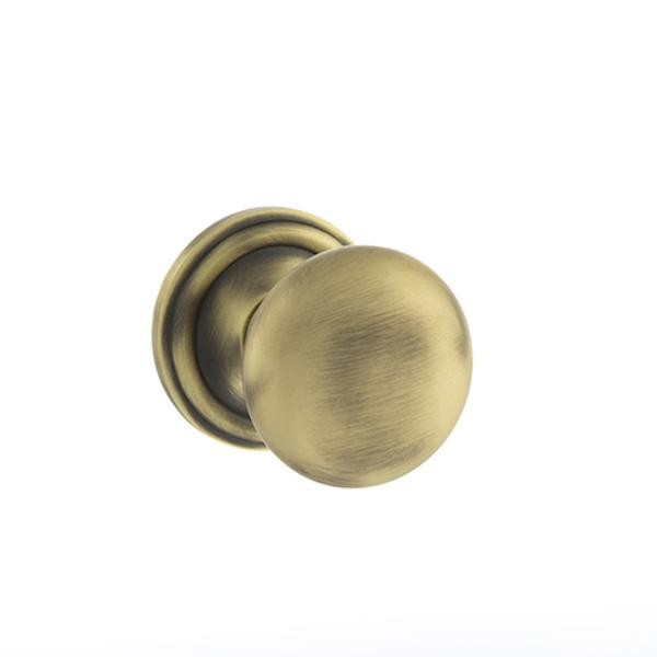 Old English Harrogate Solid Brass Mushroom Mortice Knob on Concealed Fix Rose - Matt Antique Brass