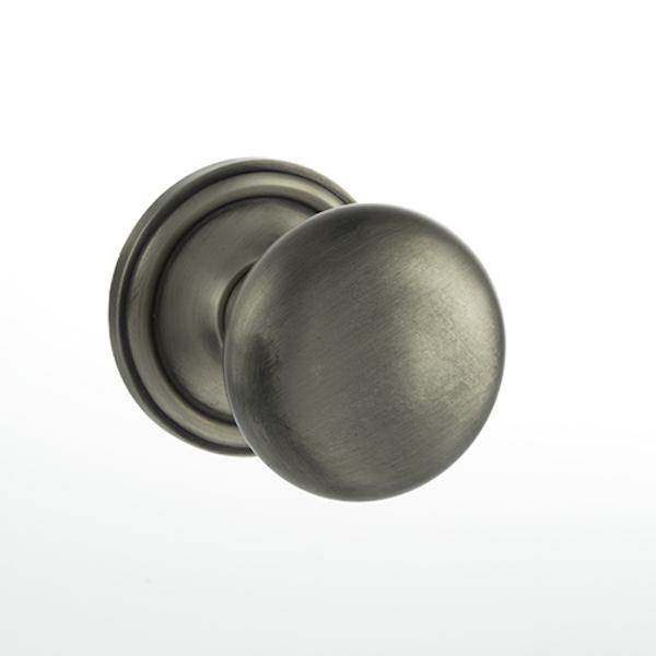 Old English Harrogate Solid Brass Mushroom Mortice Knob on Concealed Fix Rose - Matt Gun Metal