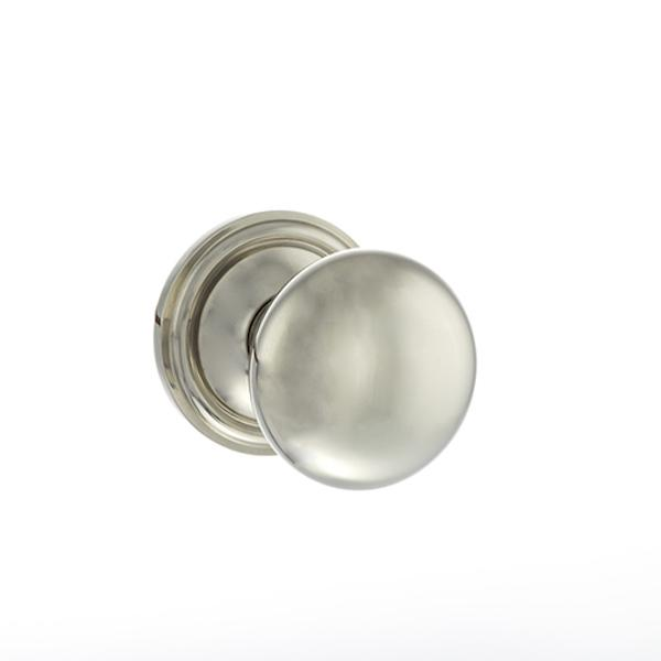 Old English Harrogate Solid Brass Mushroom Mortice Knob on Concealed Fix Rose - Polished Nickel