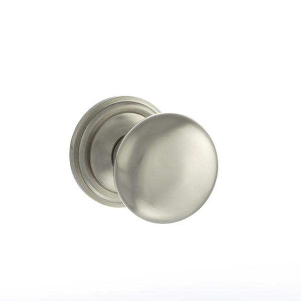 Old English Harrogate Solid Brass Mushroom Mortice Knob on Concealed Fix Rose - Satin Nickel