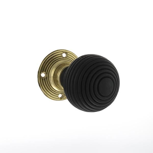 Old English Whitby Ebony Wood Reeded Mortice Knob on 60mm Face Fix Rose - Polished Brass