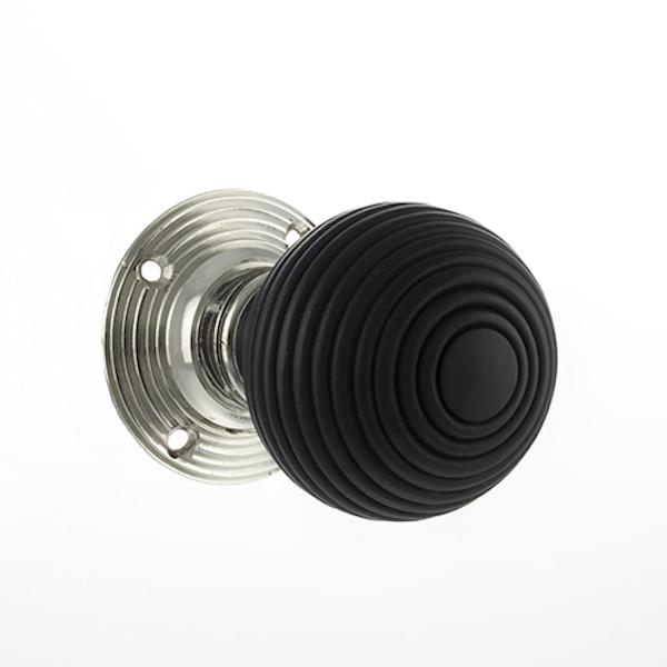 Old English Whitby Ebony Wood Reeded Mortice Knob on 60mm Face Fix Rose - Polished Nickel
