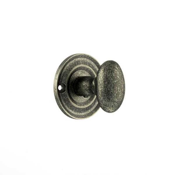 Old English Solid Brass Oval WC Turn and Release - Distressed Silver