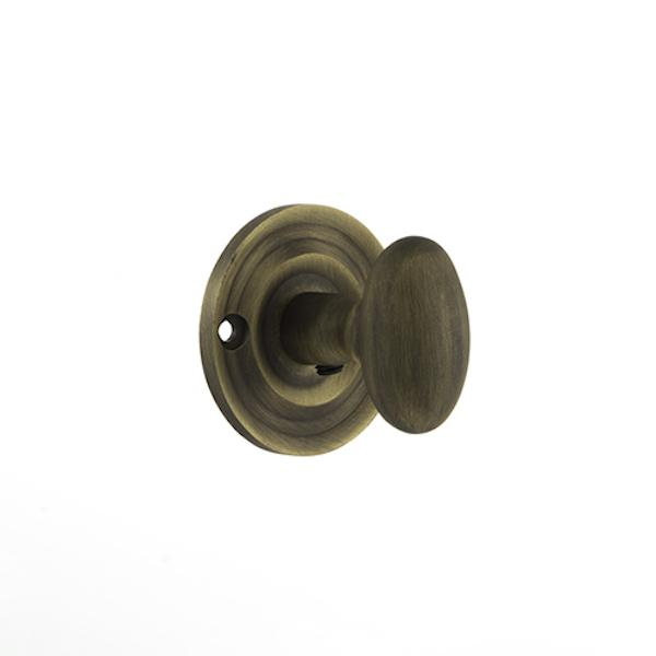 Old English Solid Brass Oval WC Turn and Release - Matt Antique Brass