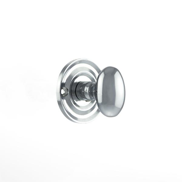 Old English Solid Brass Oval WC Turn and Release - Polished Chrome