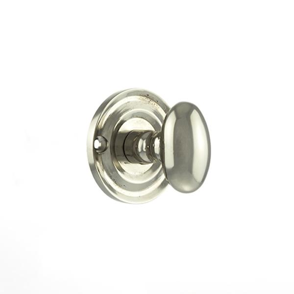 Old English Solid Brass Oval WC Turn and Release - Polished Nickel
