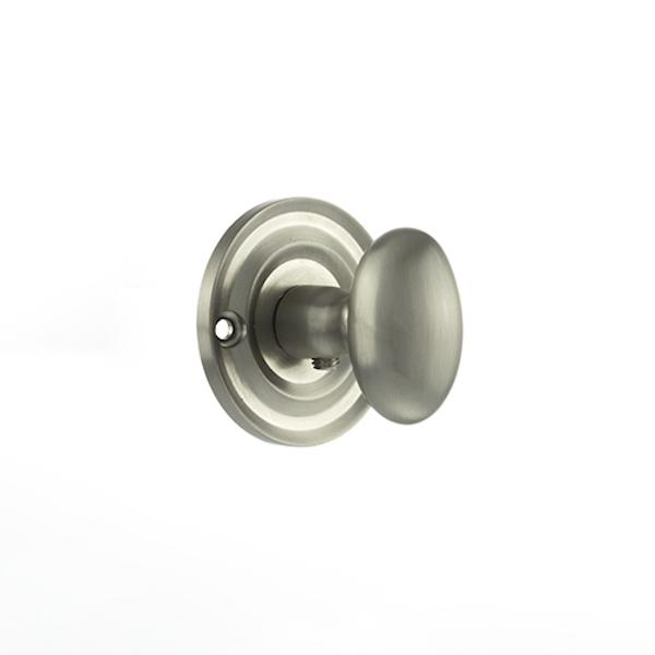 Old English Solid Brass Oval WC Turn and Release - Satin Nickel