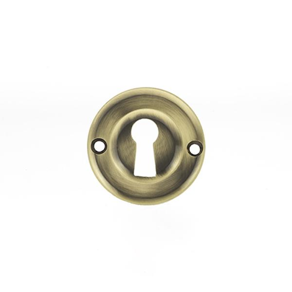 Old English Solid Brass Open Key Hole Escutcheon - Antique Brass