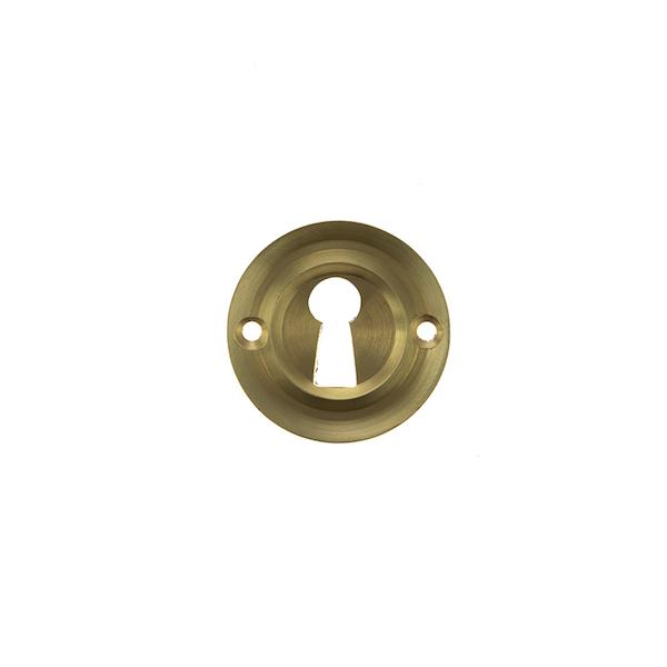 Old English Solid Brass Open Key Hole Escutcheon - Satin Brass