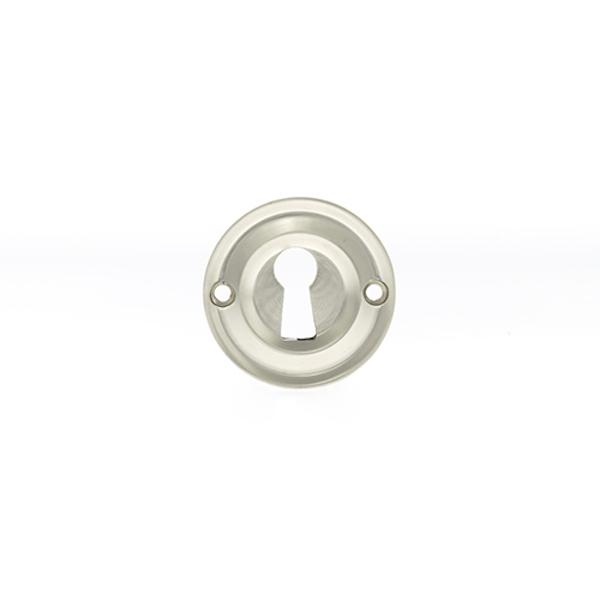 Old English Solid Brass Open Key Hole Escutcheon - Satin Nickel