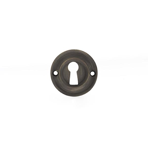 Old English Solid Brass Open Key Hole Escutcheon - Urban Bronze