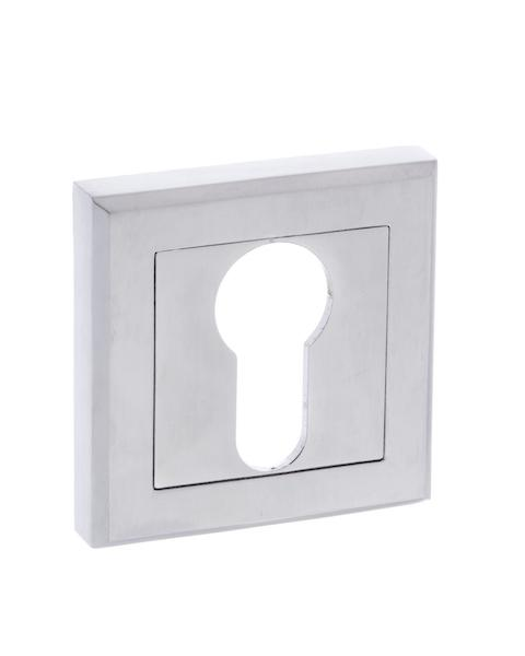 STATUS Euro Escutcheon on Square Rose - Satin Chrome