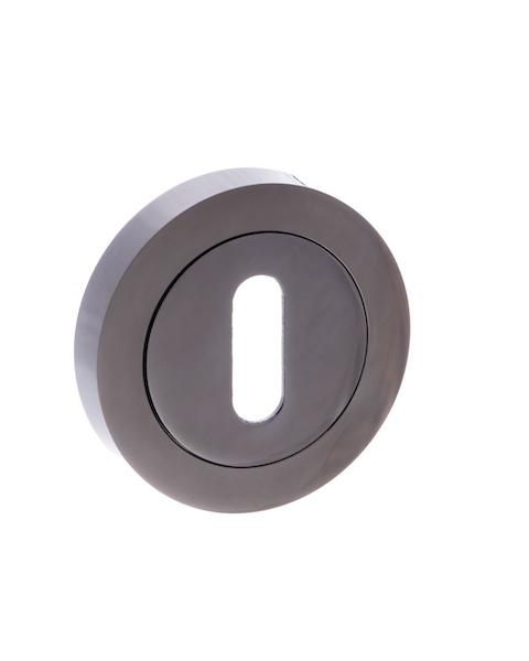 STATUS Key Escutcheon on Round Rose - Black Nickel