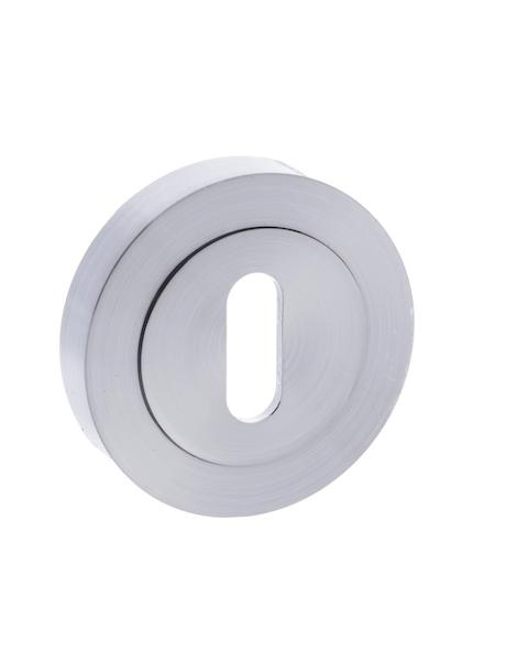 STATUS Key Escutcheon on Round Rose - Satin Chrome