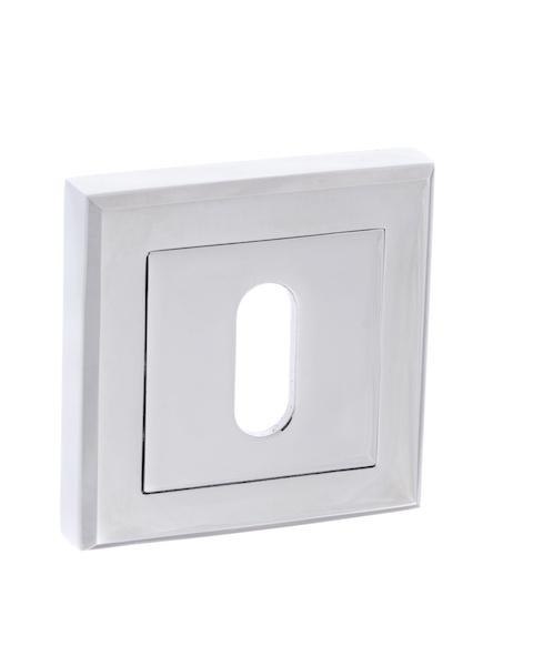 STATUS Key Escutcheon on Square Rose - Polished Chrome