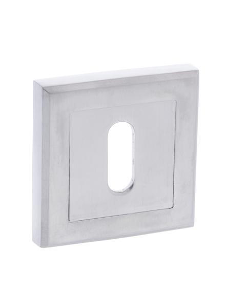 STATUS Key Escutcheon on Square Rose - Satin Chrome