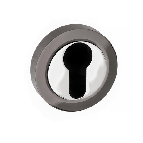 STATUS Euro Escutcheon on Round Rose - Black Nickel/Polished Chrome