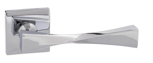Senza Pari Guido Designer Lever on Square Rose - Polished Chrome