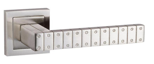 Senza Pari Bianca Designer Lever on Flush Square Rose - Satin Nickel