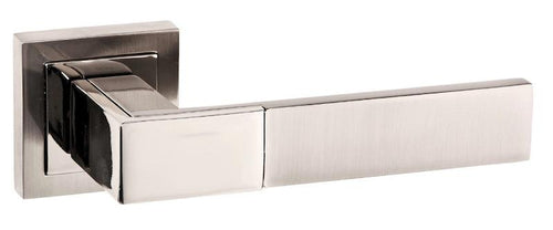 Senza Pari Casalli Designer Lever on Flush Square Rose - Satin Nickel/Polished Nickel