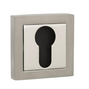 Senza Pari Euro Escutcheon on Square Rose - Satin Nickel/Polished Nickel