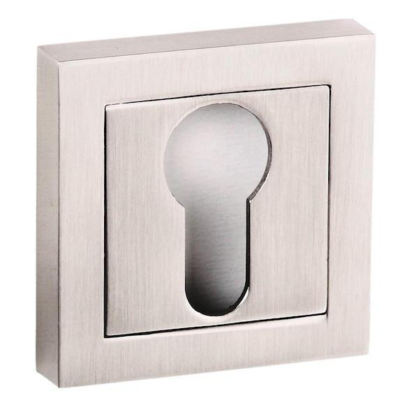 Senza Pari Euro Escutcheon on Square Rose - Satin Nickel