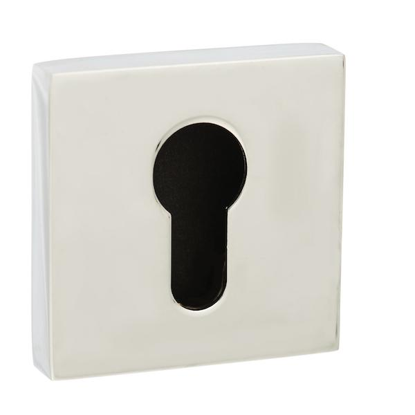 Senza Pari Euro Escutcheon on Flush Square Rose - Polished Chrome