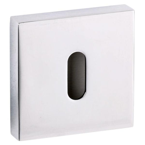 Senza Pari Key Escutcheon on Flush Square Rose - Polished Chrome